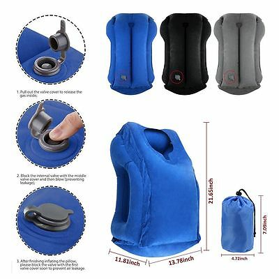 Inflatable Air Cushion Travel Pillow Head Neck Sleep Support Camping Flight -CA