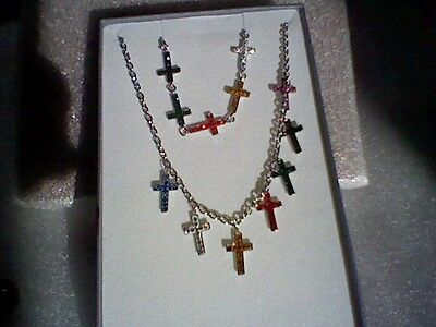 Cross Necklace And Bracelet-Multi Color Austrian Crystal, Stainless Steel