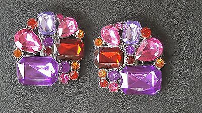 Lindsay Phillips Interchangeable Snaps, Robin Gem - pink and purple jewels