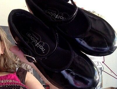 Girls Tap Shoes By Revolution-Size 12.5 -Black Patent W/buckle Closure