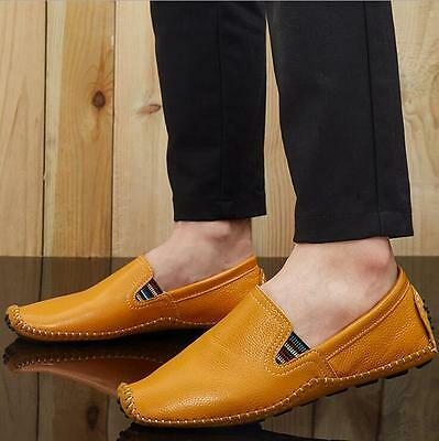 Men Genuine Leather Shoes Antiskid Loafers Driving Casual Shoes US 11