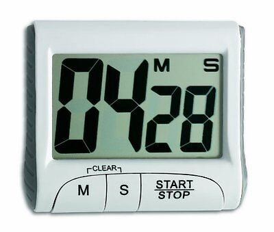 TFA Digital Countdown Timer with Stopwatch, White
