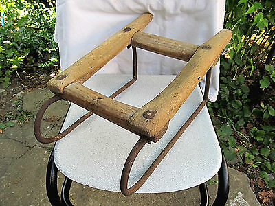 Old Antique Primitive Rare 1900 Wood And Metal Sledge Carriage Kegs Cask