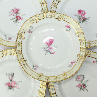 Set of 8 KPM Royal Berlin Yellow Basketweave Plates w Pink Flowers - Neuosier PC