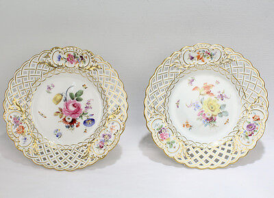 Pair Antique Reticulated Meissen Porcelain Tazzas or Cake Stands - Flowers PC