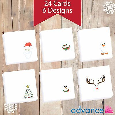 Personalised Christmas Cards - 24 in a Pack - Abstract Assortment 6 Designs