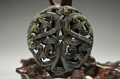 Exquisite Chinese old jade Hand Carved Hollow out Dragon Pendant ak20