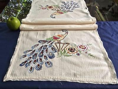 Antique Cotton 17x44 Runner Dresser Scarf Hand Embroidered Peacocks Bobbin Lace