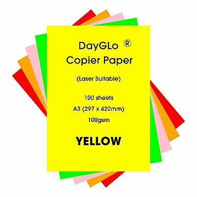 Pk Yl. Gr Dayglo Fluorescent 100gsm 50 sheets A2 paper 5 colours Rd Or