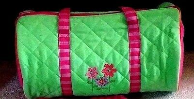 Stephen Joseph Bag Kids Quilted Duffle Overnight Bag  Pink/Green