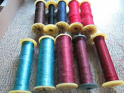 lot of 10  Vintage silk embroidered thread from silk-bobbins Germany/Herzog