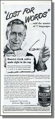 1945 Nescafe Coffee - Lost For Words - Print Ad