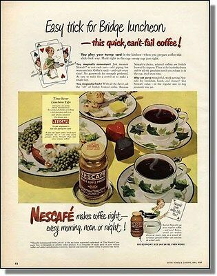 1949 Nescafe Coffee - Morning Noon or Night - Print Ad