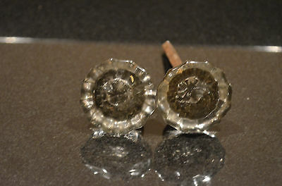 Lot of 2 ANTIQUE Victorian 12-Point Glass Doorknobs Hardware