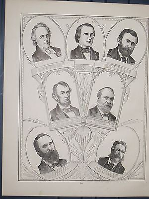 1884  Antique  Cram ENGRAVINGS of 7 Presidents / 7 Presidents back to back