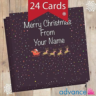Personalised Christmas Cards - 24 in a Pack - Black Spots
