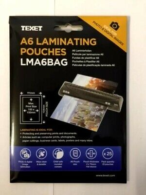 Texet A6 Size Laminating Pouches Pack of 25 Pouches