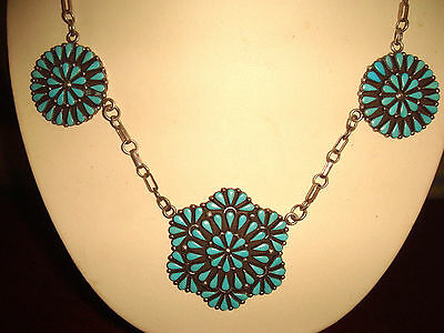 Vintage Old Pawn Zuni Sterling Silver & Petite-Point Turquoise Cluster Necklace