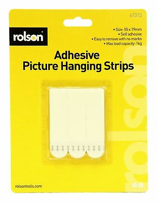 Rolson Adhesive Wall Picture Poster Hanging Strips White Hanger Holder 61315