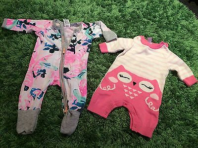 BONDS Wondersuit Zippy Newborn 0000 Floral + Knitted OWL Pink Romper Outfit Baby