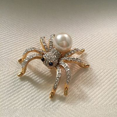 Signed Swan Swarovski Gold Plated Pave Spider Brooch Pin