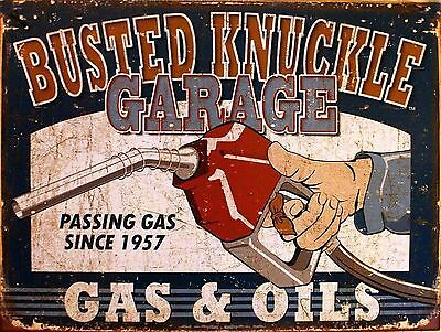 Busted Knuckle Gas & Oil Sign Man Cave Garage Shed Funny Gift workshop Mechanic