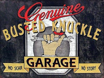 Busted Knuckle Metal Sign Man Cave Garage Shed Funny Gift workshop Mechanic