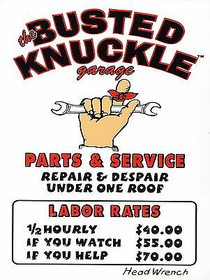 Busted Knuckle Services Sign Man Cave Garage Shed Funny Gift workshop Mechanic