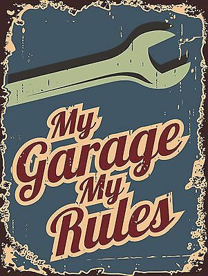 My Garage My Rules Sign Man Cave Garage Shed Funny Gift workshop Mechanic
