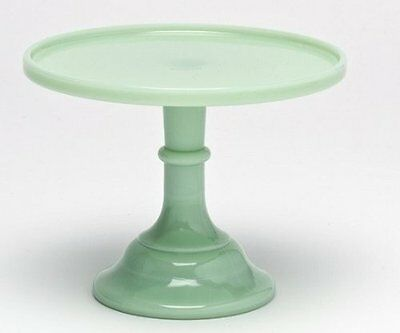 """Cake Plate Pastry Tray Baker Stand Plain & Simple Jade Jadeite Green Glass 9"""""""