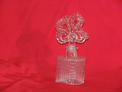 Vintage Clear Glass Perfume Bottle with Ribbon Stopper