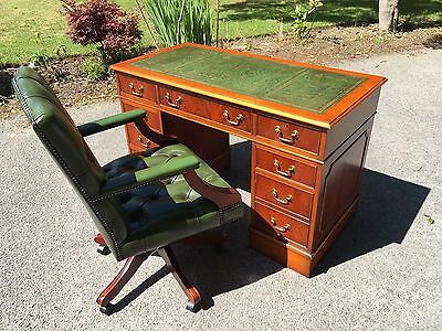 Antique Yew Wood Pedestal Writing desk With Captians Chair