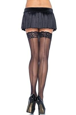 Leg Avenue Black Back Seam Stockings with Lace Top 1101qLEG_BL Black One Size