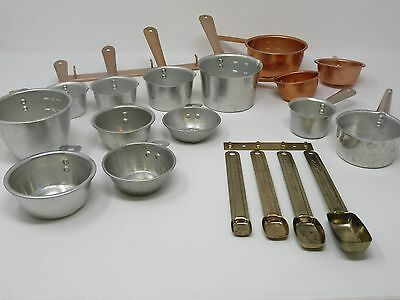 20 Vintage Aluminum Copper Colored Measuring Cups Spoons with Hanging Brackets