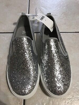 Girls Gap Kids Glitter Slip on Silver Sneakers Shoes Size 3 4 NWT