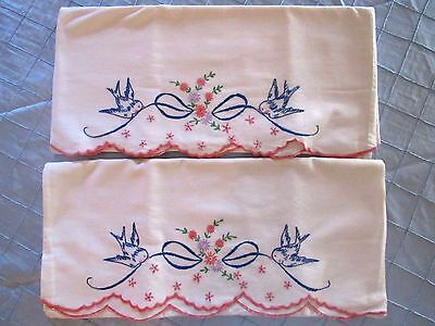 Vintage White Cotton Pillowcase Pair Embroidered Blue Birds & Asters 19X34