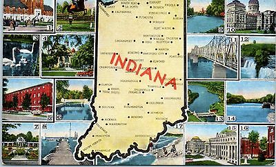 IN - Indiana State Map Greetings Postcards