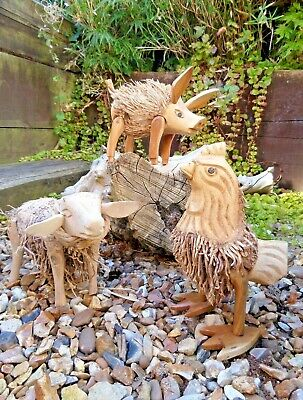 Fair Trade Hand Carved Made Bamboo Root Chicken Sheep Pig Farm Animal Statue