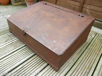 A Large Steel Industrial Engineers Desk Writing Slope Tool Box