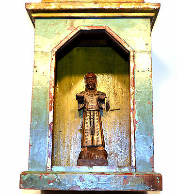 St Francis In Escaparate  Religious Folk Art -Santos Display Shrine