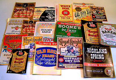 Whiskey & assorted Vintage booze  Labels Lot New Old Stock USA Un-Used Qty18