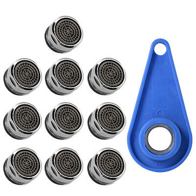 10pcs Tap Faucet Aerator 24mm Male Fitting Bath Sink Basin Water Saving + Wrench