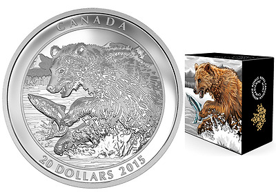 2015 Canada Grizzly Bear: The catch $20 1 oz. Proof 99,99 % Fine Silver Coin