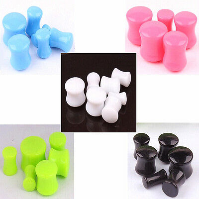 Pair Candy Color Drum Acrylic Ear Plug Double Flare Flesh Tunnel Gauge Stretcher