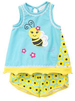 Baby Toddler Girls Outfit Dress Summer New NWT Rare Editions Bee Short Set 12M