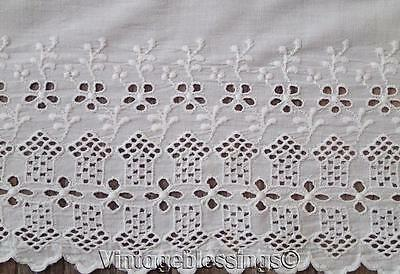 "Large Antique LACE & Monogrammed ""MA"" Cotton SHEET 115"" x 90"""