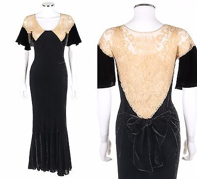 Vtg Early c.1930's Black Silk Velvet Floral Lace Front Bias Cut Evening Gown