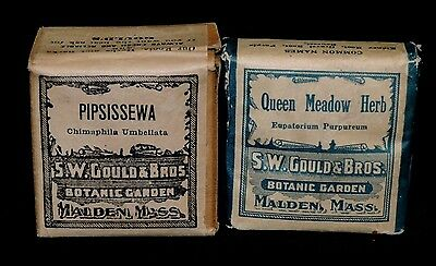 Lot 2 Antique S W Gould & Bros Queen Meadow & Pipsissewa Herbs Unopened Boxes