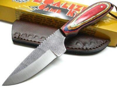 SAWMILL Wood Handle EQUALIZER Full Tang FILE BLADE Game Knife + Sheath SM5 New!