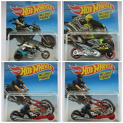 Hot Wheels 1:64 Scale Die-cast Bike Motorcycle with Rider Toy Car New